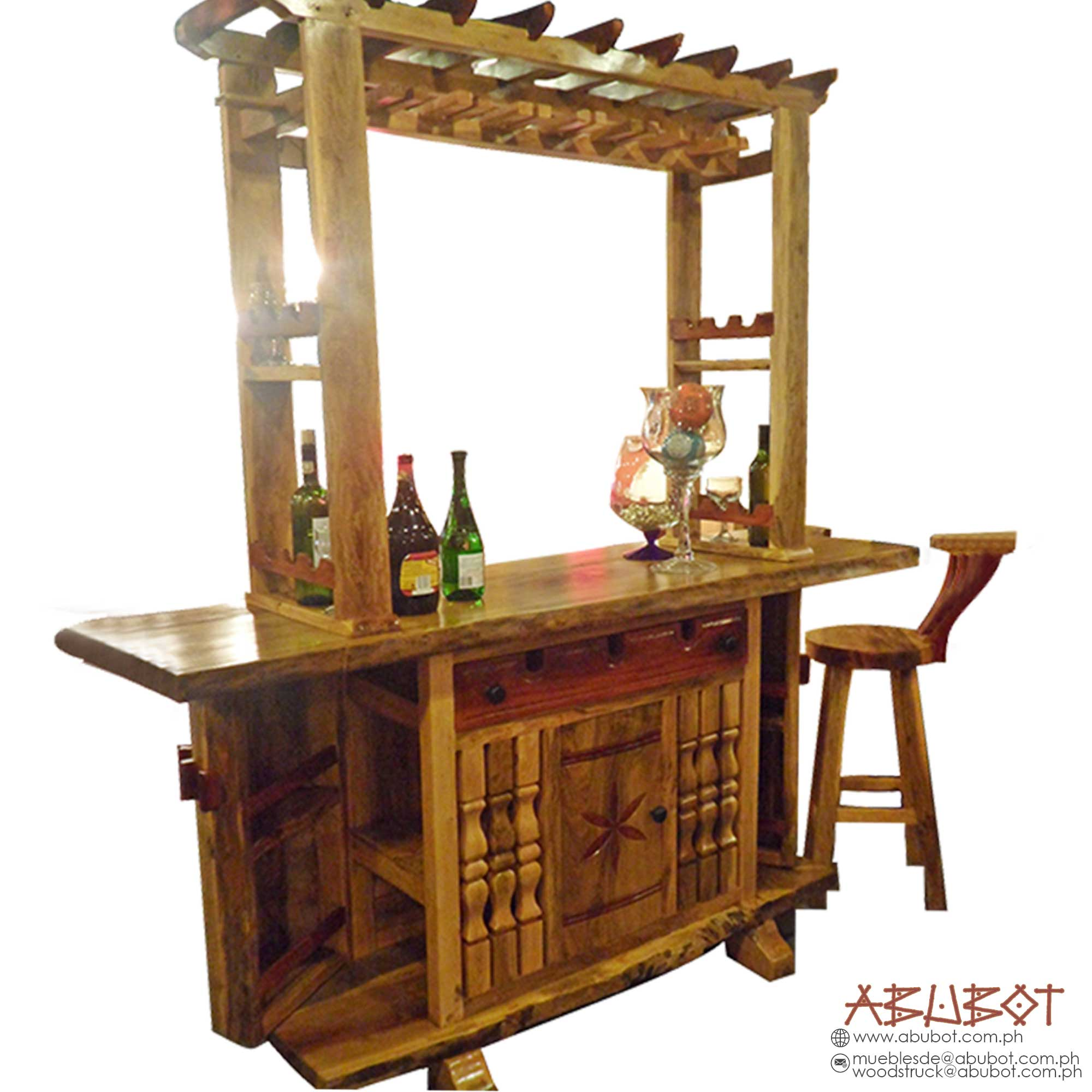 Bar Set w/ 3 Stool & Glass Rack