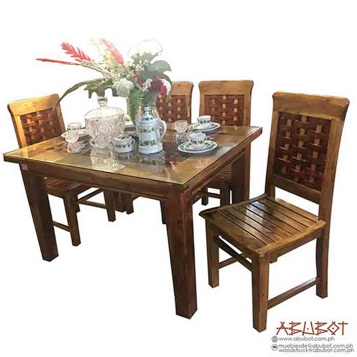 Dining Set, 4 Seater Banig Concave
