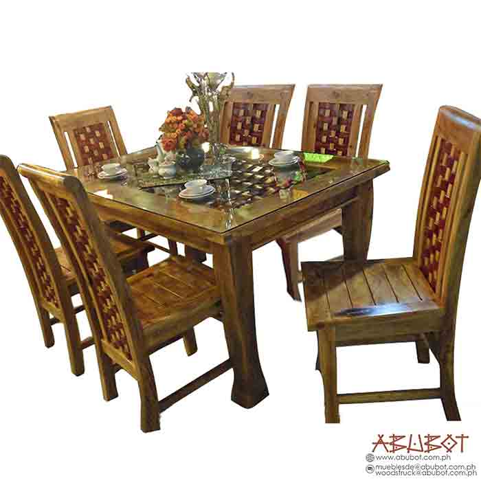 Dining Set, 6 Seater Banig Highback