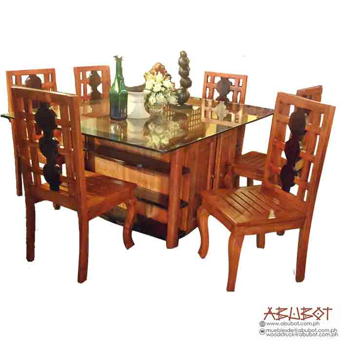 Dining Set, 6 Seater Tuscany w/ Glass Top