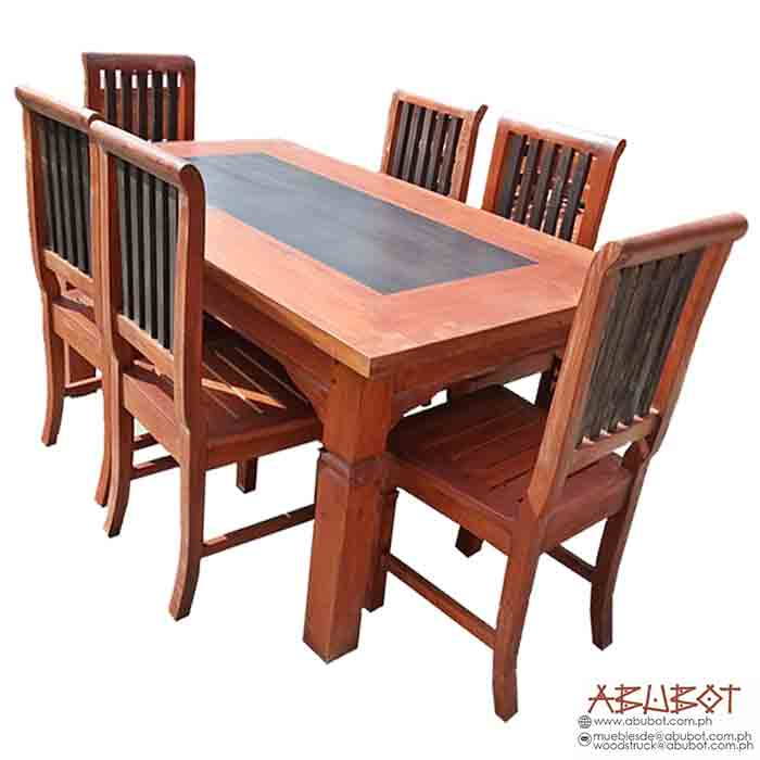 6SEATER DINING SET SLATTED, MAHOGANY