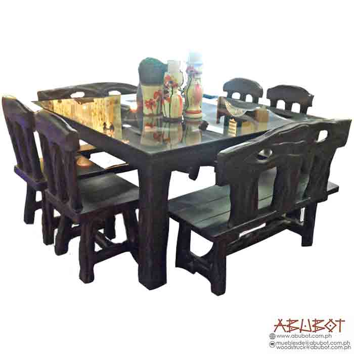 Dining Set Square w/ 4 Chairs and 2 Bench