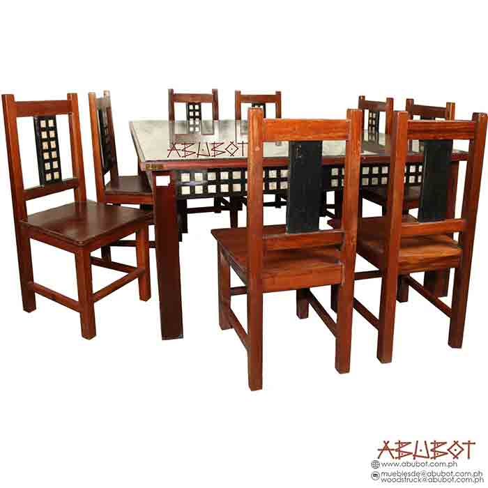 Dining Set 8 seater Square Capiz